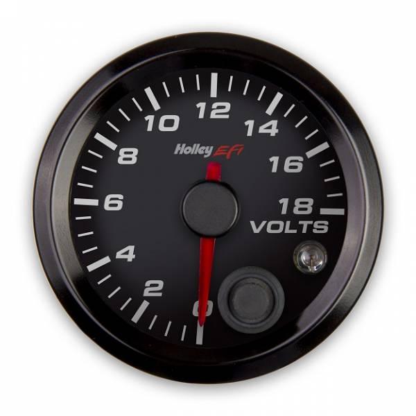 Holley EFI - Holley EFI 2-1/16 VOLTAGE GAUGE, 0-18V, CAN, BLACK 553-126