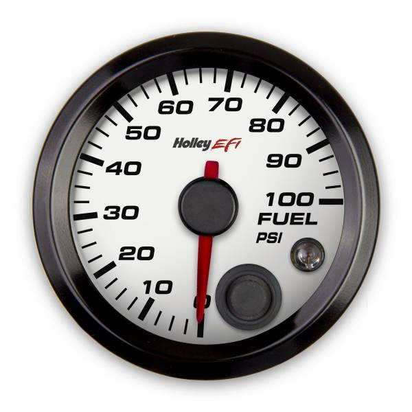 Holley EFI - Holley EFI 2-1/16 FUEL PRESSURE GAUGE, 0-100PSI, CAN, WHITE 553-129W