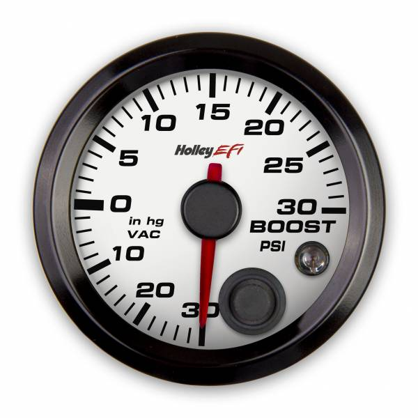 Holley EFI - Holley EFI 2-1/16 VACUUM/BOOST GAUGE, 30INHG-30PSI, CAN,WHITE 553-130W
