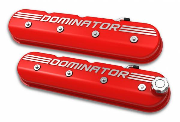 Holley - Holley VALVE COVER, TALL LS, GLOSS RED W/ DOMINATOR 241-121