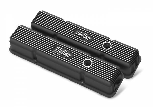 Holley - Holley SBC HOLLEY VALVE COVERS,FINNED,W/EMIS,BLK 241-242