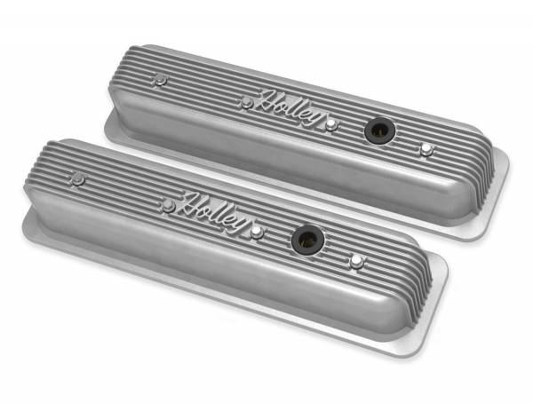 Holley - Holley SBC VALVE COVERS CENTER-BOLT FINNED NON-EMIS NAT 241-246