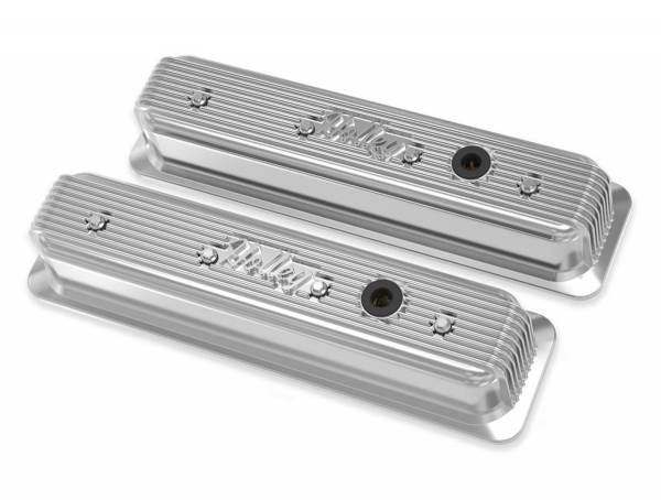 Holley - Holley SBC VALVE COVERS CENTER-BOLT FINNED NON-EMIS POL 241-248