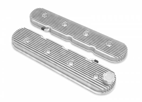 Holley - Holley LS VALVE COVERS VINTAGE FINNED NATURAL 241-130
