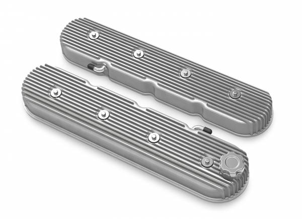 Holley - Holley VALVE COVER, TALL LS VINTAGE FINNED NATURAL FINISH 241-138