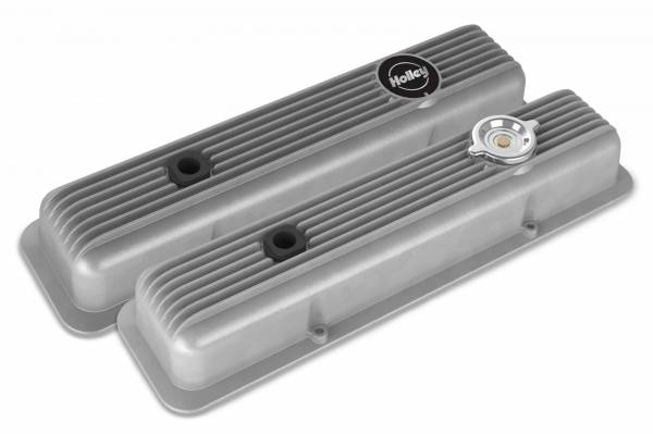 Holley - Holley SBC MUSCLE SERIES VALVE COVERS,FINNED,NATURAL 241-134
