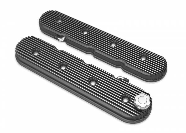 Holley - Holley LS VALVE COVERS VINTAGE FINNED BLACK W/ 241-132