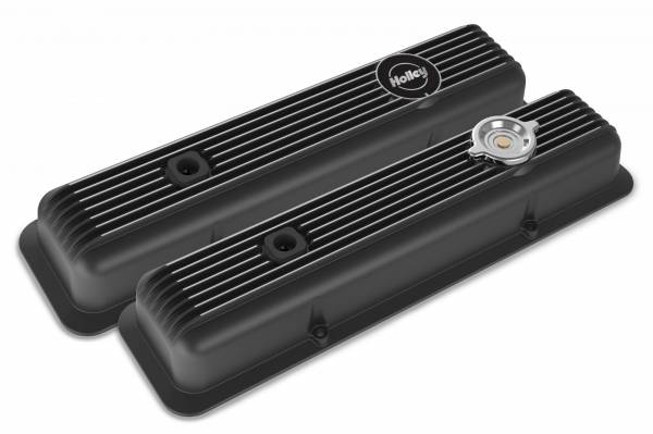Holley - Holley SBC MUSCLE SERIES VALVE COVERS,FINNED,GLOSS BLACK 241-135