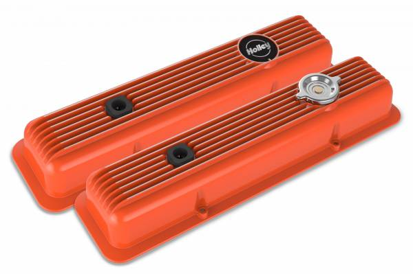 Holley - Holley SBC MUSCLE SERIES VALVE COVERS,FINNED,FACTORY 241-136