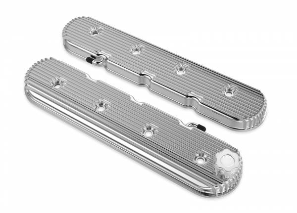 Holley - Holley LS VALVE COVERS VINTAGE FINNED POLISHED 241-131