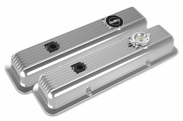 Holley - Holley SBC MUSCLE SERIES VALVE COVERS,FINNED,POLISHED 241-137