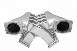 Holley Sniper EFI - Sniper EFI Fabricated Intake Manifold Dual Plenum 92mm GM LS1/2/6, TB spacers, and Fuel Rail Kit - Silver