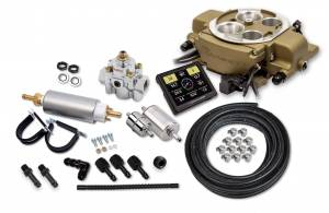 Sniper EFI Self-Tuning Kits - Sniper EFI Quadrajet - Rochester Quadrajet up to 500 HP - Holley Sniper EFI - Holley Sniper EFI Quadrajet Master Kit - Classic Gold Finish